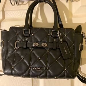 Coach quilted black leather studded mini swagger